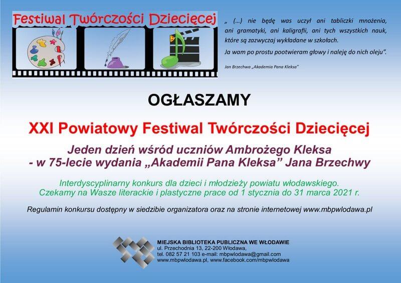 Plakat ogłaszający XXI Powiatowy Festiwal Twórczości Dziecięcej