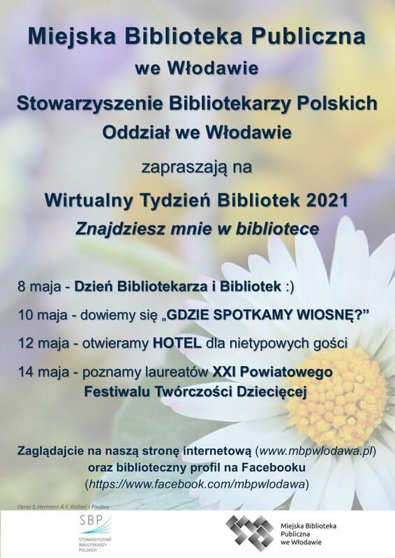 Plakat zinformacją owydarzeniach wtygodniu bibliotek. Wtle kwiat.