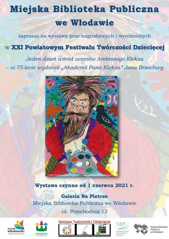 Plakat informujący ofinale konkursu. Na obrazku portret Pana Kleksa.